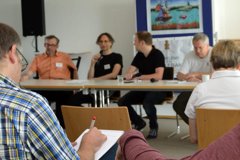 Die Chefredakteure der Brettspiel-Printmedien auf dem Podium